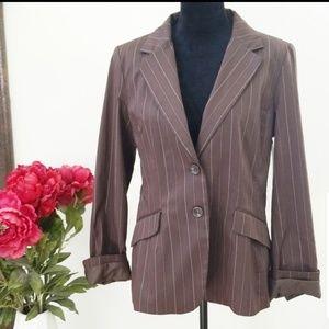 NWT H&M Brown Striped Blazer Size 16
